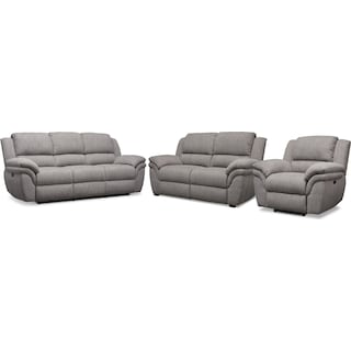 Aldo Power Reclining Sofa, Power Recliner, and Stationary Loveseat - Gray