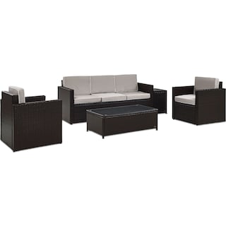Aldo Outdoor Sofa, 2 Chairs, Coffee Table, and End Table Set - Gray