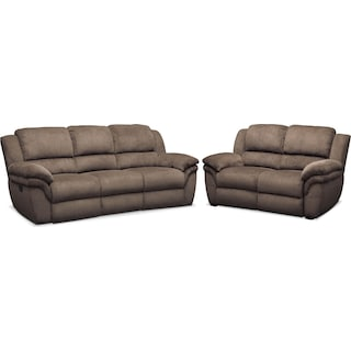 Aldo Manual Reclining Sofa and Stationary Loveseat Set - Mocha