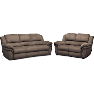 Aldo Power Reclining Sofa and Stationary Loveseat Set - Mocha
