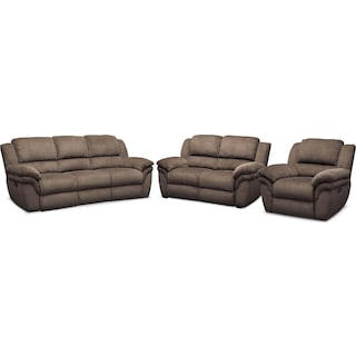 Aldo Manual Reclining Sofa, Manual Recliner and Stationary Loveseat - Mocha