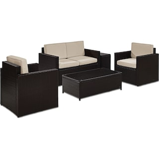 Aldo Outdoor Loveseat, 2 Chairs, Coffee Table, and End Table Set - Sand