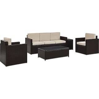 Aldo Outdoor Sofa, 2 Chairs, Coffee Table, and End Table Set - Sand