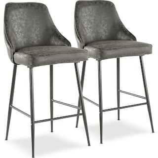 Ali Set of 2 Counter-Height Stools - Black Faux Leather/Black Metal