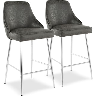 Ali Set of 2 Counter-Height Stools - Black Faux Leather/Chrome