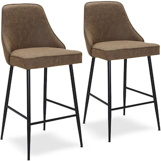 Ali Set of 2 Counter-Height Stools - Brown Faux Leather/Black Metal