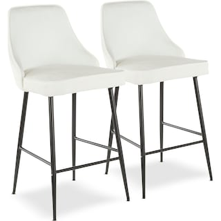 Ali Set of 2 Counter-Height Stools - White Velvet/Black Metal
