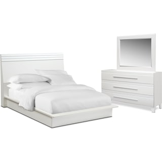 Allori 5-Piece King Panel Bedroom Set with Dresser and Mirror - White