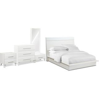 Allori 6-Piece King Panel Bedroom Set with Nightstand, Chest and Dressing Mirror - White