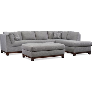 Anderson 2-Piece Sectional with Right-Facing Chaise and Ottoman  - Gray