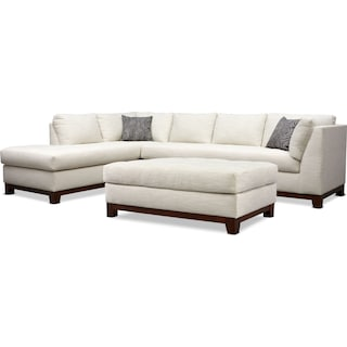 Anderson 2-Piece Sectional with Left-Facing Chaise and Ottoman - Ivory