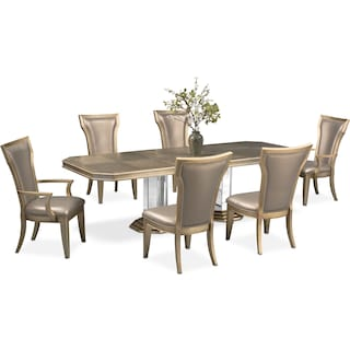 Angelina Dining Table, 2 Arm Chairs and 4 Dining Chairs