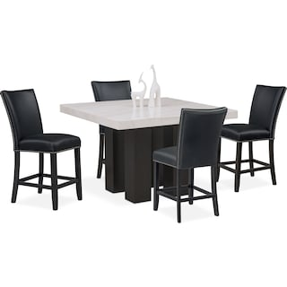 Artemis Counter-Height Marble Dining Table and 4 Upholstered Stools - Black