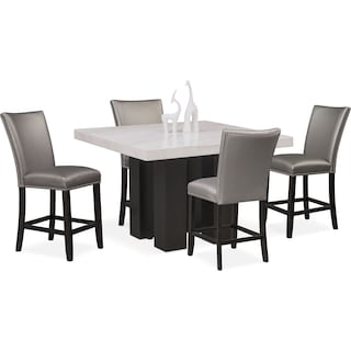Artemis Counter-Height Marble Dining Table and 4 Upholstered Stools - Gray