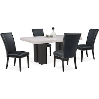 Artemis Marble Dining Table and 4 Upholstered Dining Chairs - Black