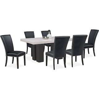 Artemis Marble Dining Table and 6 Upholstered Dining Chairs - Black