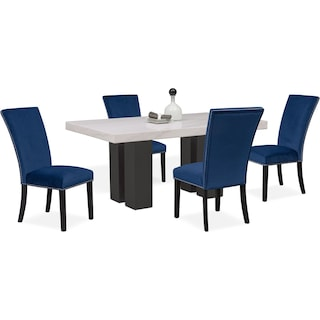 Artemis Marble Dining Table and 4 Upholstered Dining Chairs - Blue