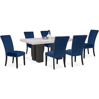Artemis Marble Dining Table and 6 Upholstered Dining Chairs - Blue