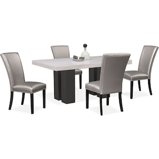 Artemis Marble Dining Table and 4 Upholstered Dining Chairs - Gray