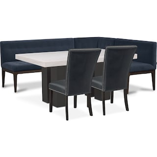 Artemis Marble Dining Table, Corner Banquette, and 2 Upholstered Dining Chairs - Shadow/Black