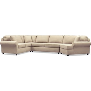 Ashton 3-Piece Sectional with Right-Facing Cuddler - Brown