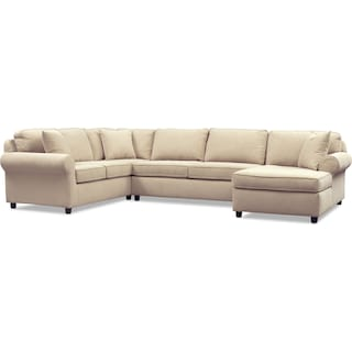 Ashton 3-Piece Sectional with Right-Facing Chaise - Brown