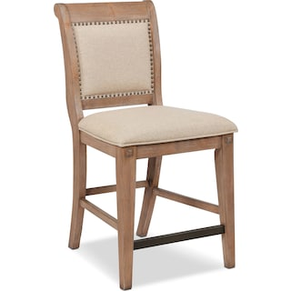 August Counter-Height Upholstered Stool - Latte