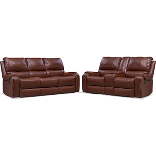 Austin Manual Reclining Sofa and Loveseat Set - Brown