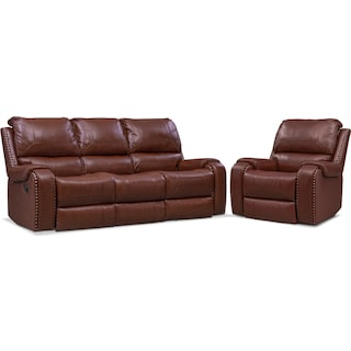 Austin Manual Reclining Sofa and Recliner Set - Brown