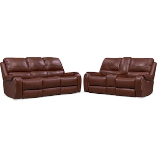 Austin Dual-Power Reclining Sofa and Loveseat Set - Brown