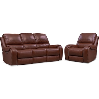 Austin Dual-Power Reclining Sofa and Recliner Set - Brown