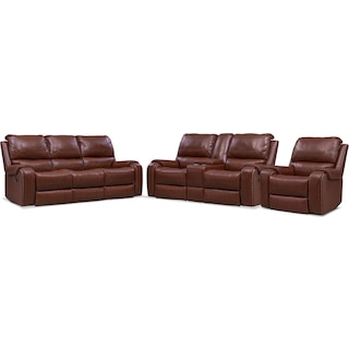 Austin Manual Reclining Sofa, Loveseat and Recliner - Brown