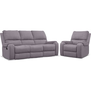 Austin Manual Reclining Sofa and Recliner Set - Gray