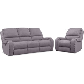 Austin Dual-Power Reclining Sofa and Recliner Set - Gray