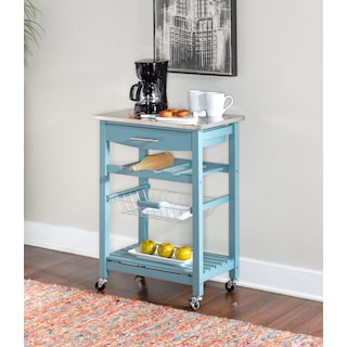 Avon Stainless Steel Kitchen Cart -Blue
