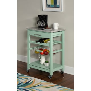Avon Granite Kitchen Cart - Green