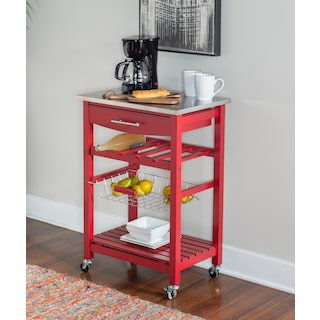 Avon Stainless Steel Kitchen Cart -Red