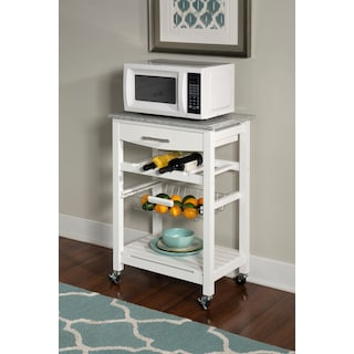 Avon Granite Kitchen Cart -White