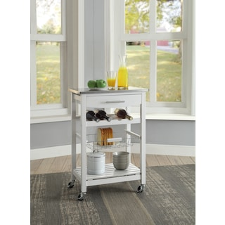 Avon Stainless Steel Kitchen Cart -White