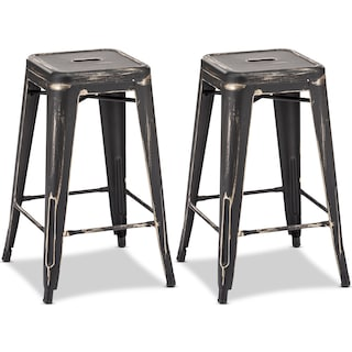 Biggs Set of 2 Counter-Height Stools - Black/Gold
