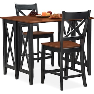 Nantucket Breakfast Bar and 2 Counter-Height Dining Chairs - Black and Cherry