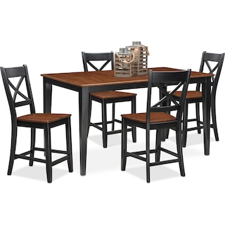 Nantucket Counter-Height Dining Table and 4 Dining Chairs - Black and Cherry