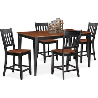 Nantucket Counter-Height Dining Table and 4 Slat-Back Dining Chairs - Black and Cherry