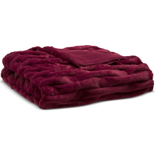 Blaire Faux Fur Throw - Red