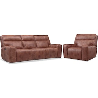 Bradley Triple-Power Reclining Sofa and Recliner Set - Brown
