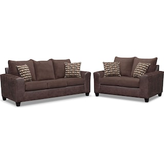 Brando Queen Memory Foam Sleeper Sofa and Loveseat Set - Chocolate