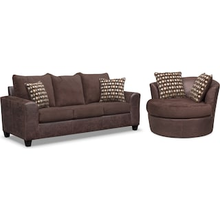 Brando Queen Foam Sleeper Sofa and Swivel Chair Set - Chocolate