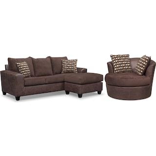 Brando Sofa with Chaise and Swivel Chair Set - Chocolate