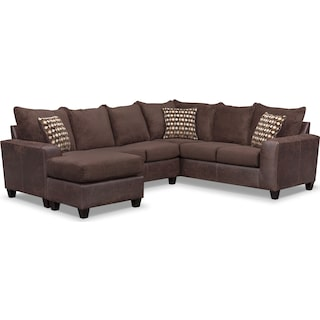 Brando 3-Piece Foam Sleeper Sectional - Chocolate