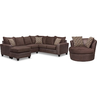 Brando 3-Piece Sectional with Left-Facing Chaise and Swivel Chair Set - Chocolate